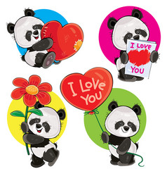 Valentine day set with cute panda bears vector
