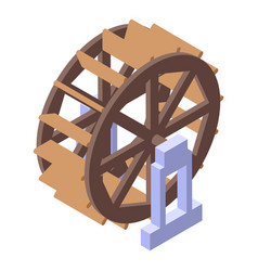 Water mill tower wheel icon isometric style vector