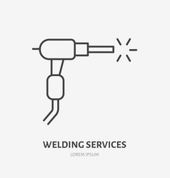 Welding flat line icon metal works sign thin vector