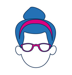 Woman avatar faceless with glasses and blue hair vector