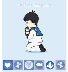 boy praying vector image vector image