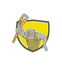 Bulldog Plumber Monkey Wrench Shield Cartoon vector image