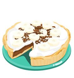 dark chocolate banana cream pie xa vector image vector image