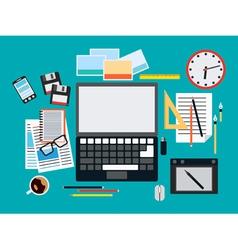 Designer workplace flat vector image vector image