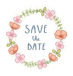 Save the date florals vector image vector image