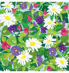 Seamless background with beautiful flowers vector image vector image