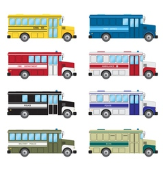 Set of buses vector image vector image