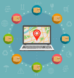 shipping parcel tracking order flat design concept vector image