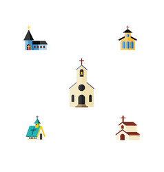 flat icon building set of catholic religion vector image vector image