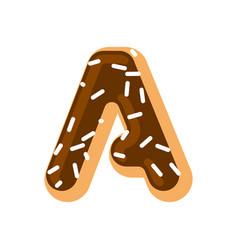 letter a donut font doughnut alphabet sweet vector image vector image