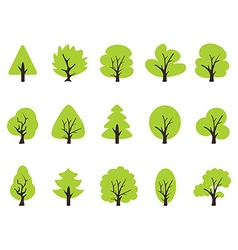 simple green tree icons set vector image vector image