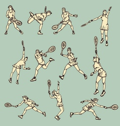 Woman Tennis Action Sport vector image