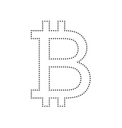 bitcoin sign black dotted icon on white vector image