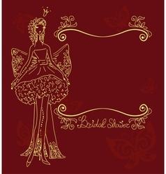 bridal shower hand drawing card vector image