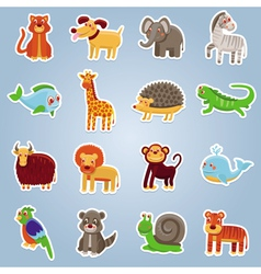 collection with 16 cartoon animals vector image