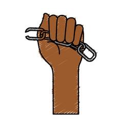 Hands human with chain break vector