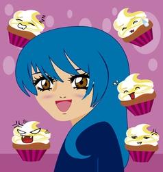 manga girl with kawaii cupcakes vector image