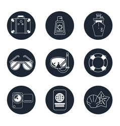 monochrome icons set of beach vacation in round vector image vector image