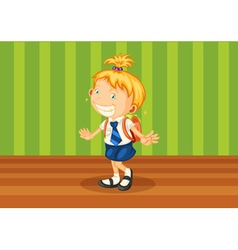 a girl with schoolbag vector image vector image