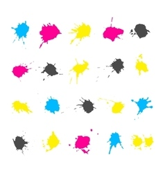 CMYK ink splashes elements collections vector image