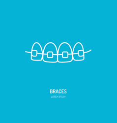 dentist orthodontics line icon of braces teeth vector image vector image