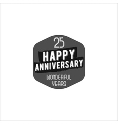 Happy 25th anniversary badge sign and emblem vector image vector image