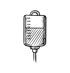 Sketch of blood bag for transfusion vector image