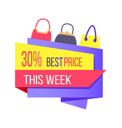 30 best price week special offer label discount vector