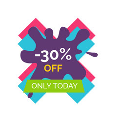 30 off only today sale label vector