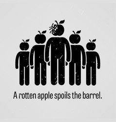 A rotten apple spoils the barrel a motivational vector