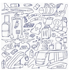 Airport Doodle Set vector image
