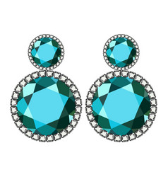 Apatite earrings mockup realistic style vector