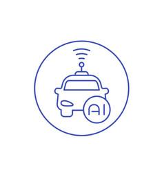 Autonomous car with ai icon linear vector