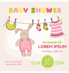 Baby bunny shower card vector