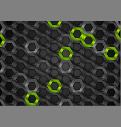 black and green glossy hexagons metallic texture vector image