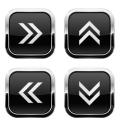 Black button with white arrows web 3d icons vector