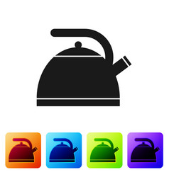 black kettle with handle icon isolated on white vector image