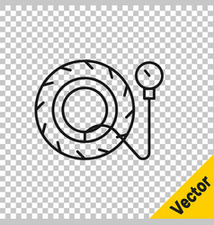 black line tire pressure gauge icon isolated on vector image