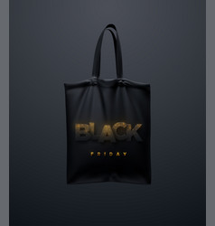 black tote bag with black friday sign vector image