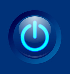 blue glowing power on off or standby button vector image