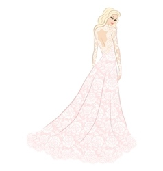 bride in lace dress vector image