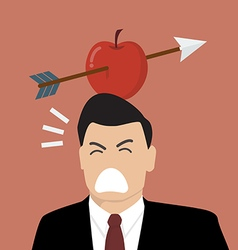 Businessman with apple and arrow on his head vector