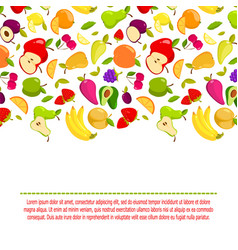 cartoon fruits background banner with vector image