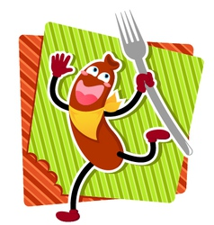 Cartoon sausage vector