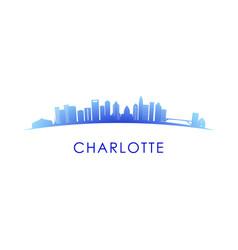 charlotte skyline silhouette design colorful vector image