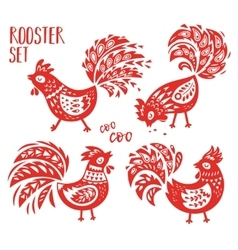Chinese zodiac set 2017 - red rooster new year vector