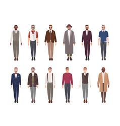 Collection of attractive men wearing elegant vector