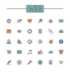 Colored Web Line Icons vector image