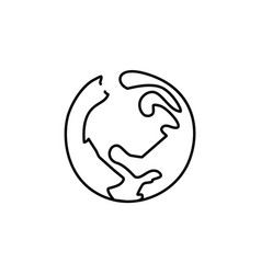 continuous line globe planet earth one line vector image