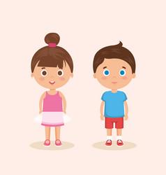 Couple little kids characters vector